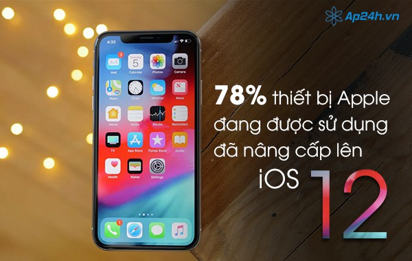 78% thiết bị Apple đang được sử dụng đã nâng cấp lên iOS 12