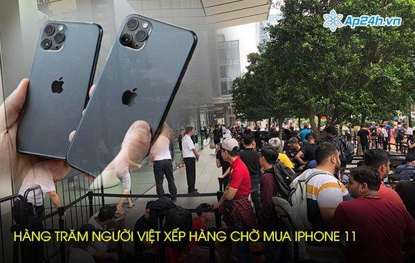 Hàng trăm người Việt xếp hàng chờ mua iPhone 11