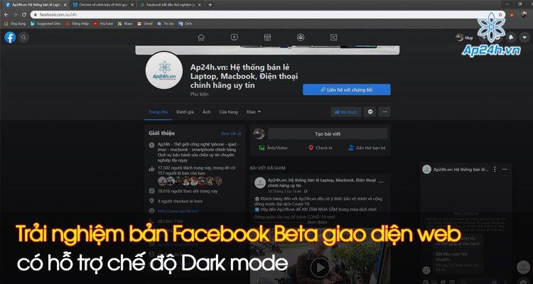 Trải nghiệm bản Facebook Beta giao diện web, có hỗ trợ chế độ Dark mode