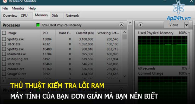 Thủ thuật kiểm tra lỗi RAM máy tính của bạn đơn giản mà bạn nên biết