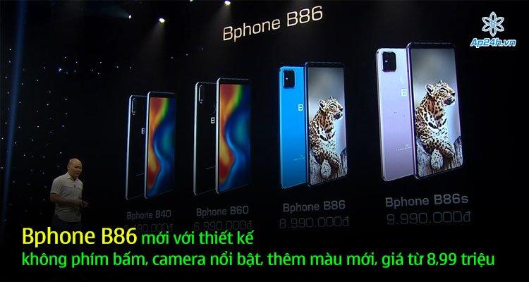Bphone B86 mới với thiết kế không phím bấm, camera nổi bật, thêm màu mới, giá từ 8,99 triệu