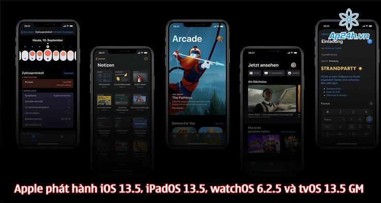 Apple phát hành iOS 13.5, iPadOS 13.5, watchOS 6.2.5 và tvOS 13.5 GM