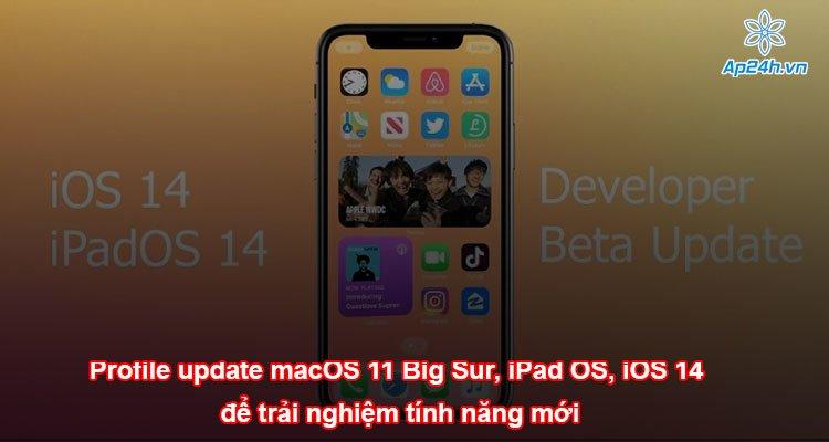 Profile macOS 11 Big Sur, iPad OS, iOS 14 để trải nghiệm tính năng mới
