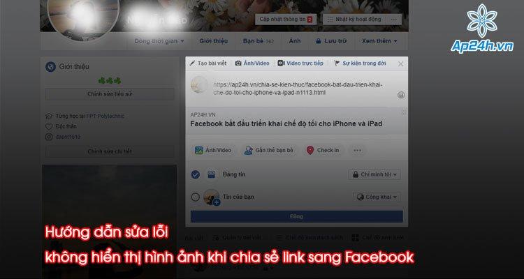 Hướng dẫn sửa lỗi không hiển thị hình ảnh khi chia sẻ link sang Facebook