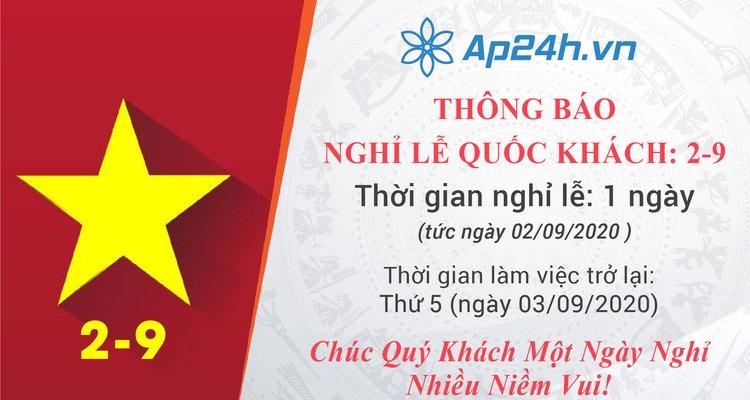 Thông báo nghỉ lễ Quốc Khánh mùng 02/09/2020