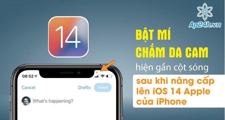 Bật mí chấm da cam hiện gần cột sóng sau khi nâng cấp lên iOS 14 Apple của iPhone