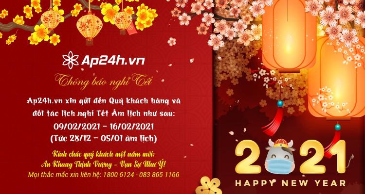 Thông báo lịch nghỉ Tết Tân Sửu 2021 trên hệ thống Ap24h.vn
