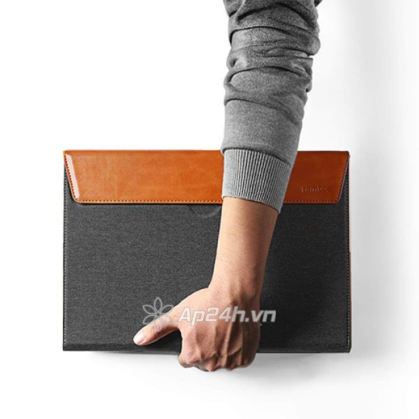 TÚI CHỐNG SỐC TOMTOC (USA) PREMIUM LEATHER FOR MACBOOK PRO 13″ NEW/AIR 13″ 2018 GRAY
