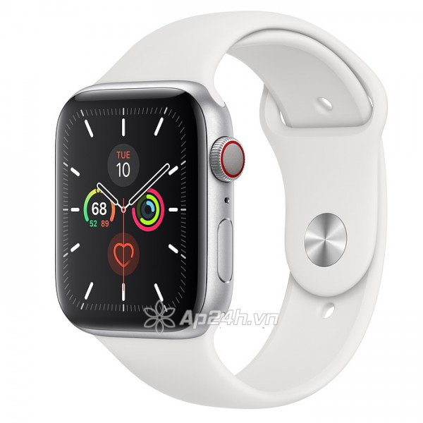 Apple Watch SE GPS + Cellular 44mm MYEV2VN/A Silver Aluminium Case with White Sport Band (Apple VN)