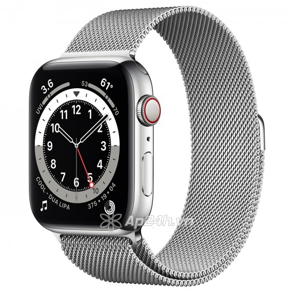 Apple Watch Series 6 GPS + Cellular 44mm M09E3VN/A Silver Stainless Steel Case with Silver Milanese Loop (Apple VN)