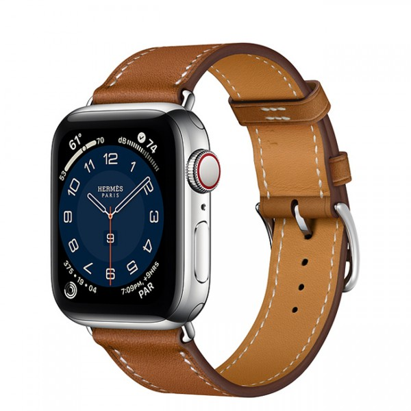 Apple Watch Series 6 Hermès 40mm Silver Stainless Steel Case with Fauve Single Tour