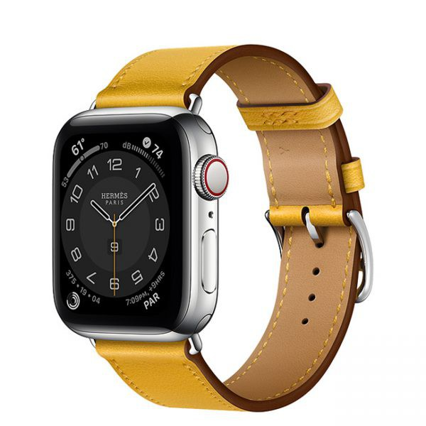 Apple Watch Series 6 Hermès 40mm Silver Stainless Steel Case with Jaune Ambre Single Tour