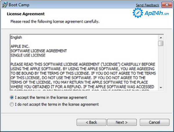 Cài win 7 cho Macbook bằng cách chọn I accept the terms in the license agreement